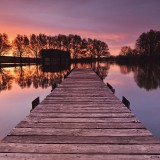 boardwalk-lake-red-sunrise-wallpaper-3840x2400